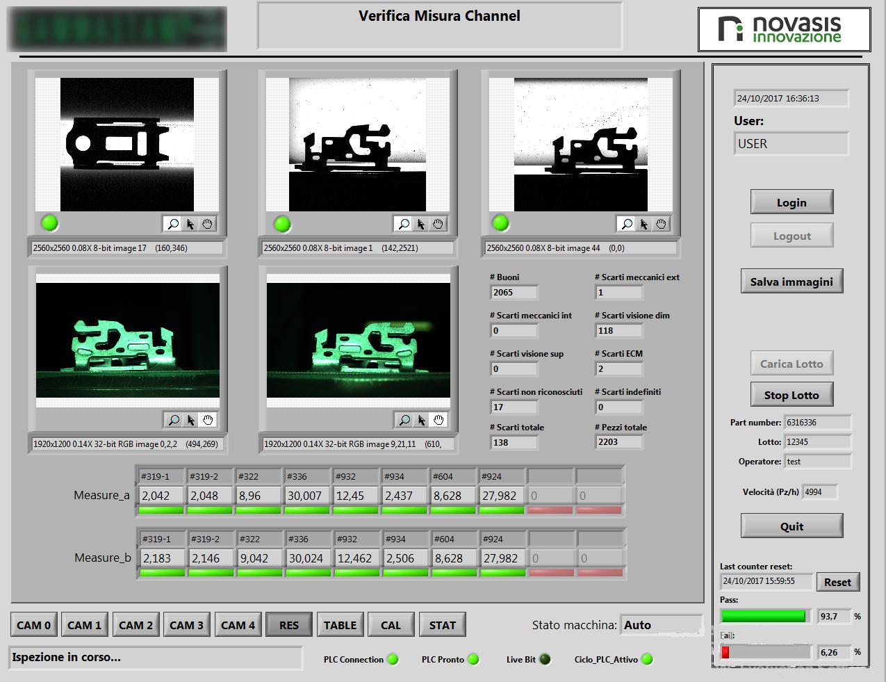 Sistema di controllo e misura in linea componenti per sistemi di sicurezza automotive