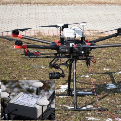 sensore gas su drone, gas sensor mounted on UAV